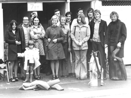 Dive Exhibition in mid 70s Brockwell Park (L Kate Rankin, Carol Burns, Brenda Fish, Irene Coleman, Alf Burns, Malcom Townsend, Leslie Humphries, Paul Fish, Tom Humphries, Bob Wyatt, Dave Rankin, son Simon Rankin)