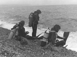 (L Alf Burns, R Dave Rankin) at Chesil Beach WW2 Landing Craft
