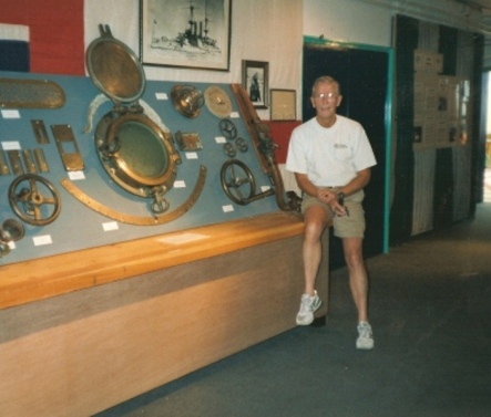 John Kelly with collection at Weymouth Museum